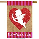 Cheap Cupid Burlap Valentine's Day House Flag Holiday Love 28″ x 40″ Briarwood Lane