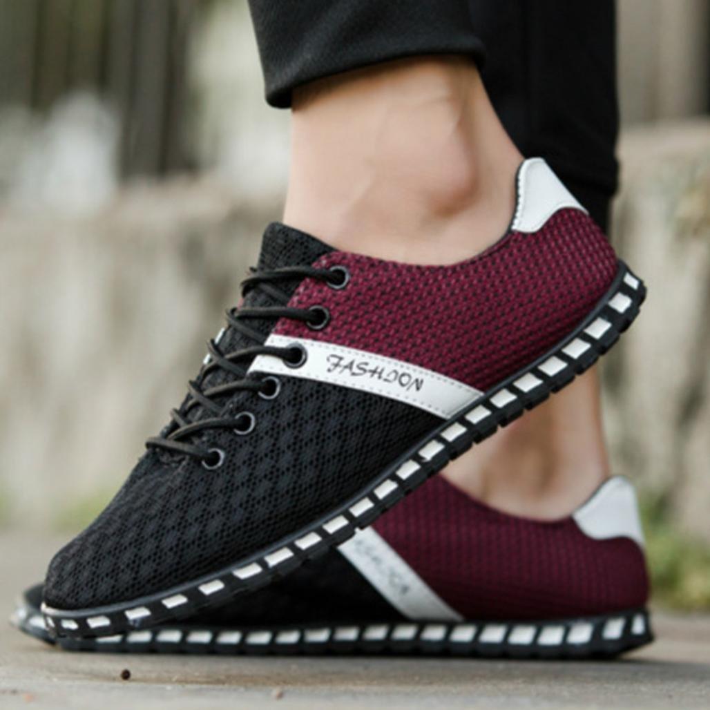 Hemlock Soft Sneakers, Men Boy Mesh Comfortable Breathable Casual Shoes Flat Shoes Gym Shoes (US:10.5, Black)