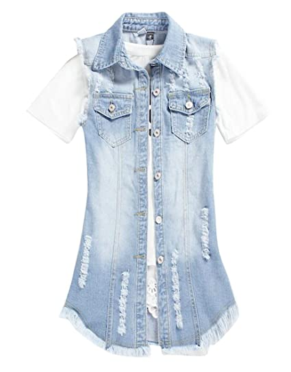 274a03f9972d04 MMCP-Women Long Ripped Cutoff Denim Vest Sleeveless Jean Jacket Coat at  Amazon Women s Coats Shop