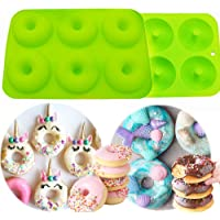 LaVenty 2 Pack Premium Donut Mold Silicone Donut Pan Bagel Mold Tray Cake Mold Non Stick Doughnut Pans for Baking