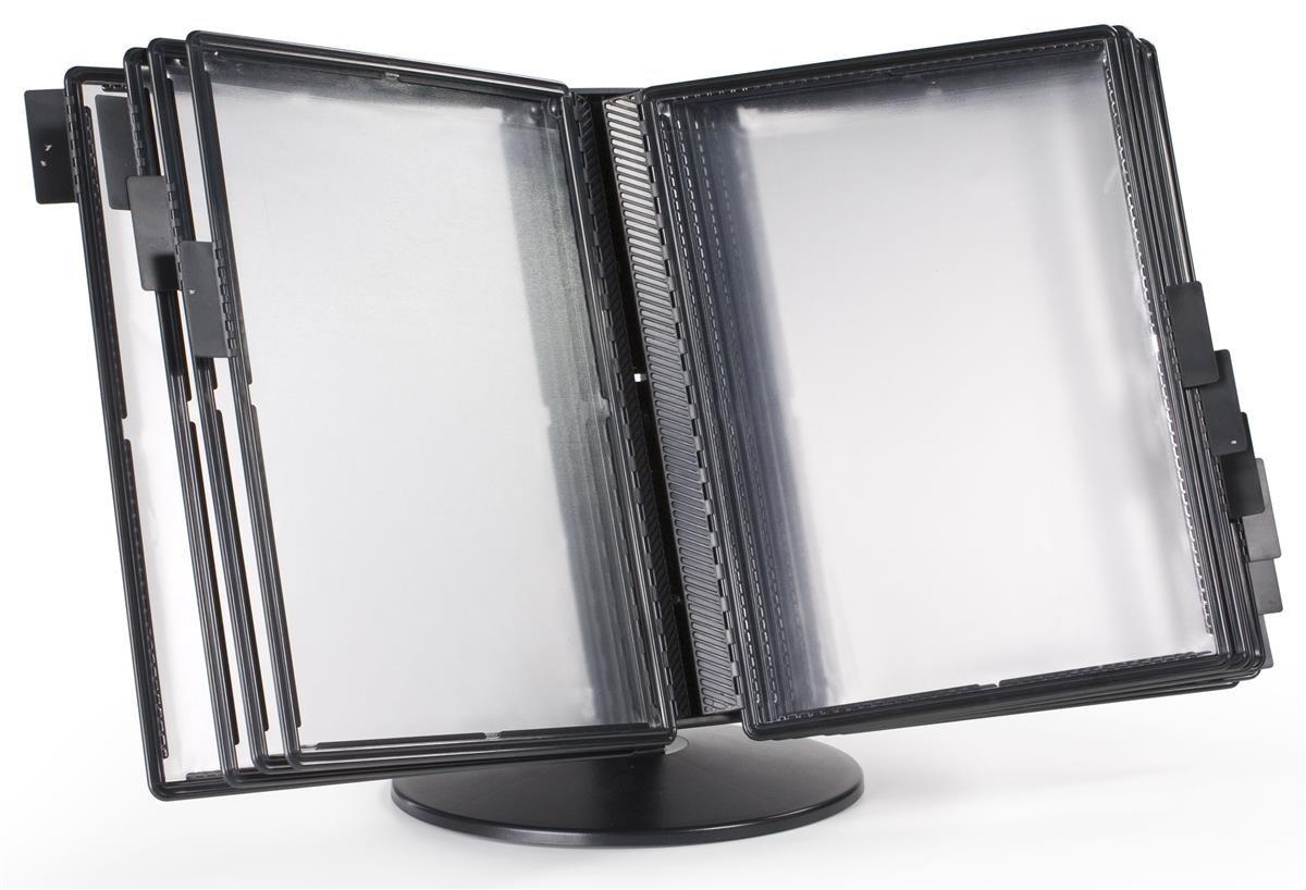 Displays2go Black Plastic Desktop Document Reference Binder with 10 Double-Sided Vinyl Pockets (DK10DPSBK)