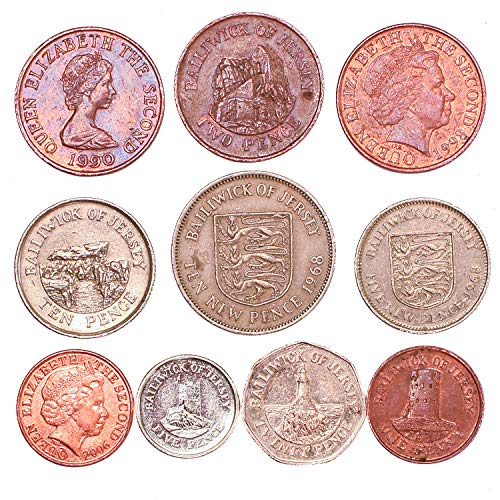 10 Bailiwick of Jersey Coins 1 Penny - 10 Pence. Old Coins Collection from Channel Island, Since 1968. Perfect Choice for Your Coin Bank, Coin Holders and Coin Album