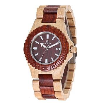 GFFXIXI Reloj De Madera Clásico Reloj De Cuarzo Vintage para Hombres De Negocios Reloj De Madera
