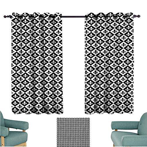 DONEECKL Warm Curtain Fleur De Lis Checkerboard Pattern Rectangles European Heraldic Design Monochrome Emblem Tie Up Window Drapes Living Room W63 xL72 Black White