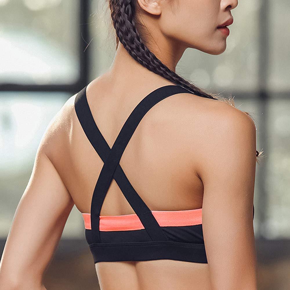 Vertvie Femme Soutien-Gorge de Sport Push Up V Profond Gilet Athlétique Bra  sans Armature Bretelles ... 9d265ad69fa