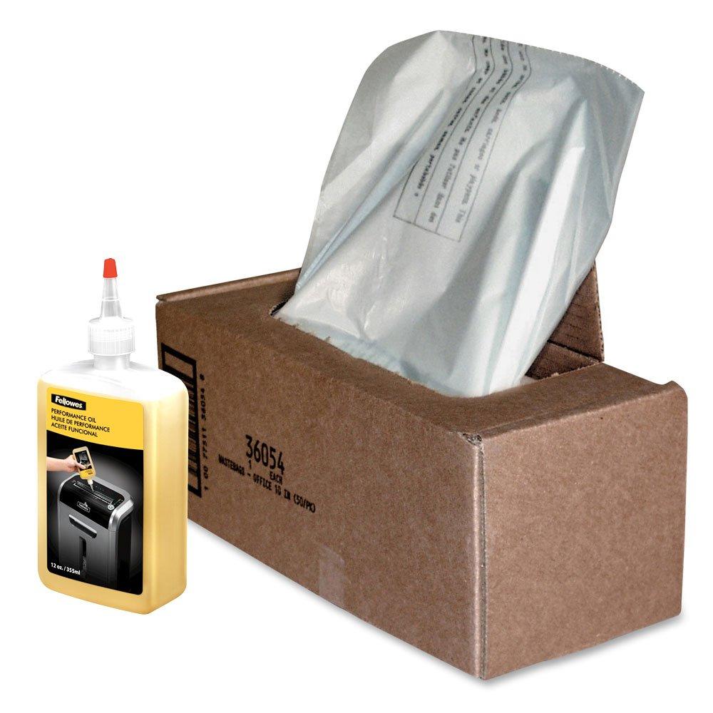 Fellowes Powershred Shredder Oil 12 oz. Bottle and 50 Waste Bags by Fellowes