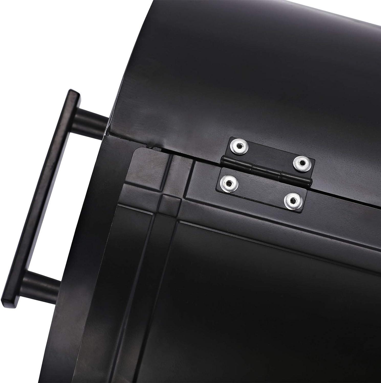 Schwarz Outsunny Holzkohlegrill mit Deckel Metall Standgrill 50 x 35 x 39 cm
