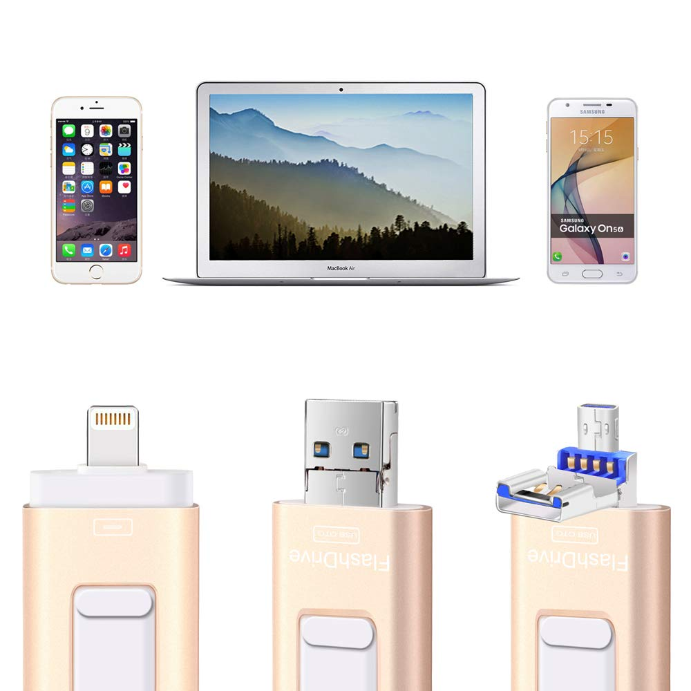 Flash Drives for iPhone and iPad 128G,SUNANY iOS Flash Drive Memory Stick Expansion for iPhone,iPad,MacBook,Android,pc and More Devices with USB Port (128GB Gold) by Sunany (Image #2)