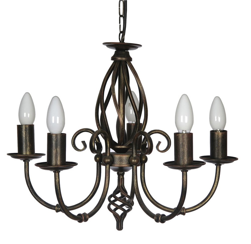 Oaks Lighting Tuscany Deckenleuchte, 5-flammig, schwarz gold
