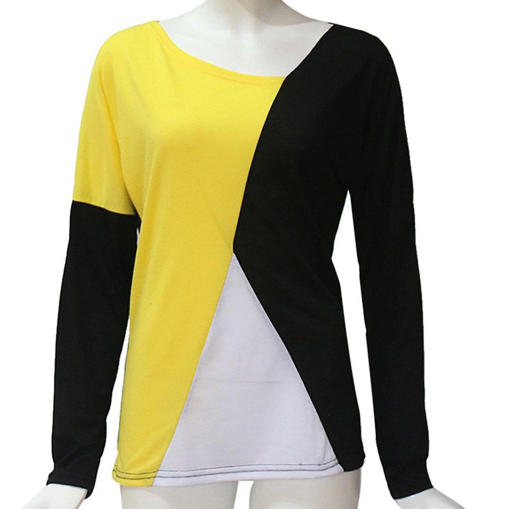 Luckycat Blusa Moda Patchwork Casual para Mujer Color Block O-Neck Manga Larga Camiseta Tops