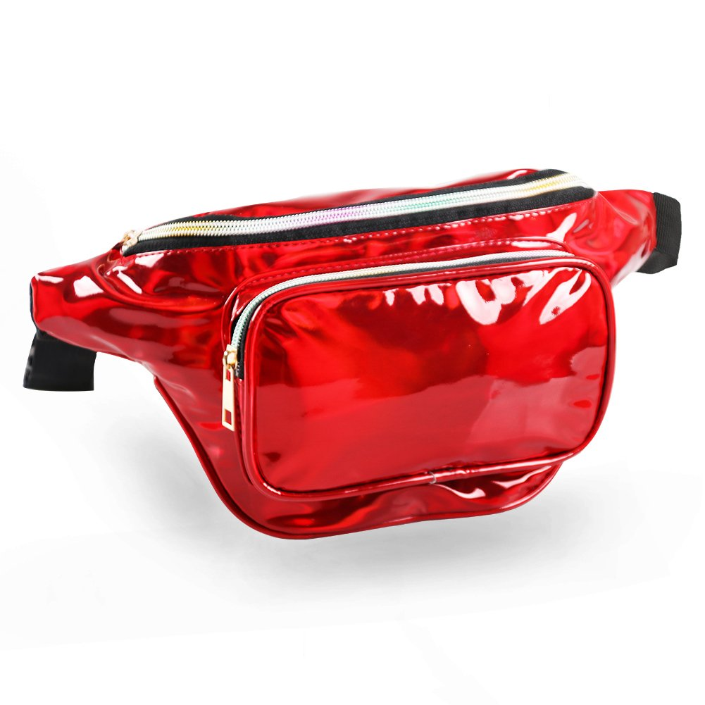 MUM'S MEMORY Metallic Hologram Fanny Pack – Outdoor Sport Waist Pack for Running, Hiking, Traveling for Women and Men (Red)