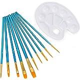 ウォニヤ ペイントブラシ アクリル筆 水彩パレット付き 油絵筆 水彩筆 画筆 10本セット ブルー