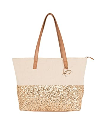 Pia Rossini Canvas and Gold Sequin Twin Handled Summer Beach Bag ...
