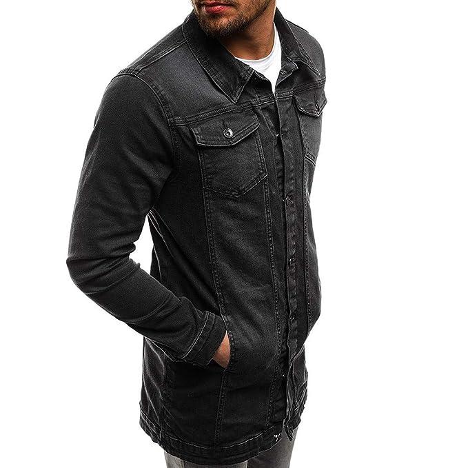 Amazon.com: Littleice Men Demin Jacket Tops Blouse Mens Autumn Winter Long Sleeve Vintage Distressed Outwear Coat: Clothing