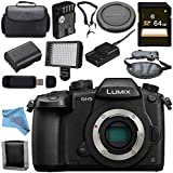 Panasonic Lumix DC-GH5 DC-GH5KBODY Mirrorless Micro Four Thirds Digital Camera + 64GB SDXC Card Memory Bundle