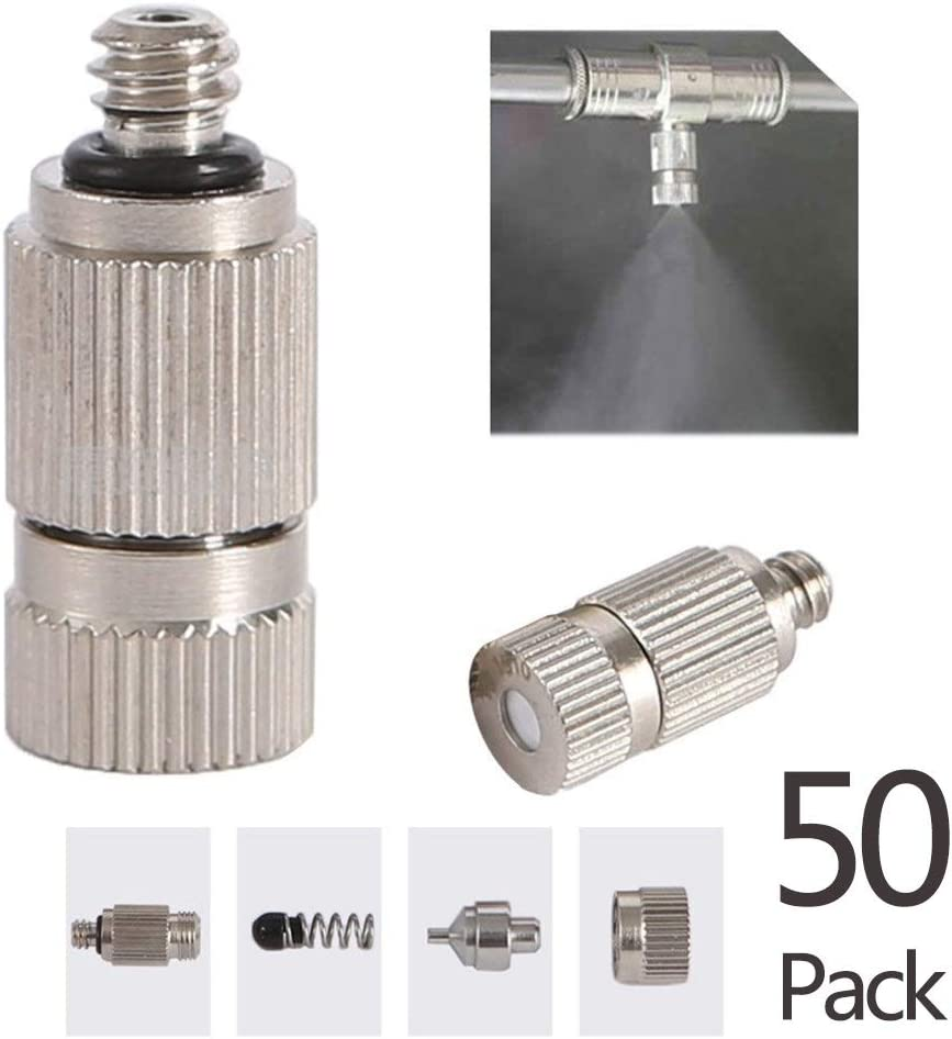 "GQQG 50pcs Stainless Steel Misting Nozzle Kit for Cooling System, High Pressure 3/16"" Threaded Mister Nozzles, Anti-drip Fogging Spray Head for Landscaping, Air Humidification, Spraying Disinfection"