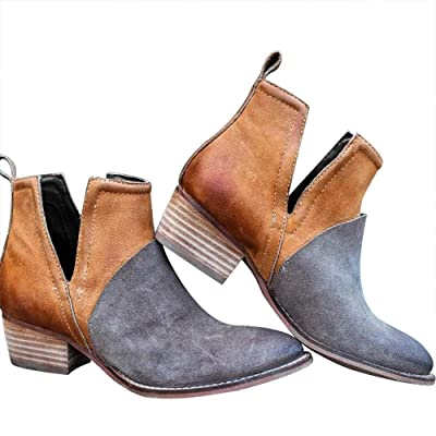 Blivener Fashion Chelsea Boots Slip on Ankle Booties Chunky Block Pointed Toe V-Cut Low Heel Shoes | Ankle & Bootie
