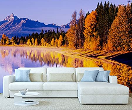StickersWall Autumn Forest Mountain Lakeside Nature Landscape Scenery Wall Mural Photo Wallpaper Picture Self Adhesive 1027 (228cm(W) x 161cm(H)): ...