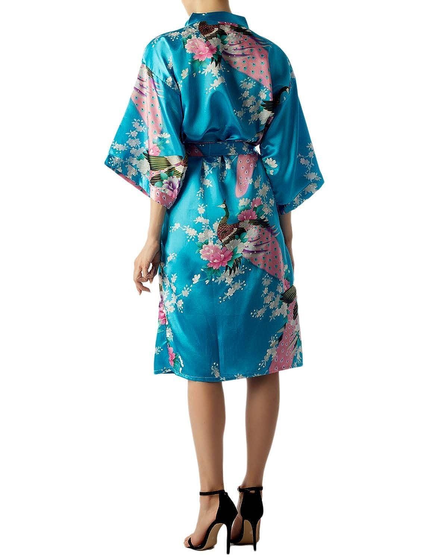 e00c4853ed7166 iB-iP Femme Paon et Fleur de Prunier Style Japonais Kimono Mi-Longue  Peignoir/Robe de ...