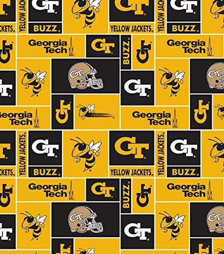 (NCAA University of Georgia Tech Team Licensed Block Fleece Fabric )