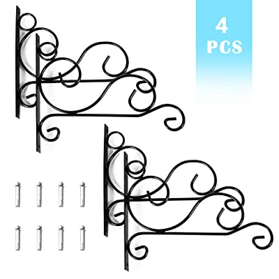 LIANTRAL Hanging Plant Bracket, 4PCS Hand Forged Curved Hook Plant Hangers, Outdoor Wall Planter Hook for Bird Feeder, Lanterns, Potted, Outdoor Brackets Hooks : Garden & Outdoor