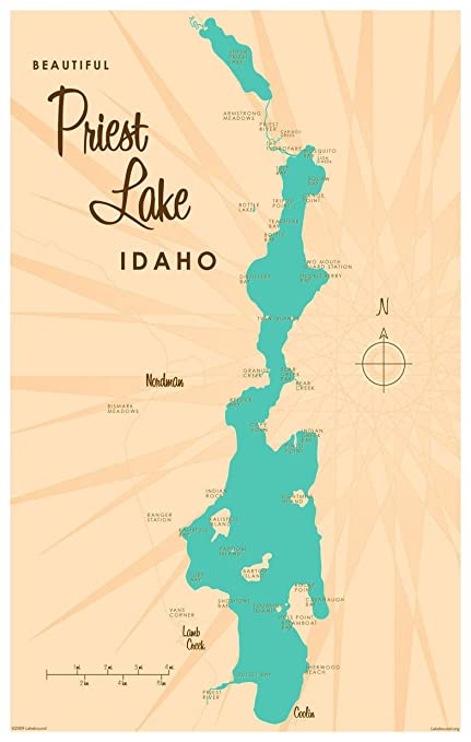 image about Printable Map of Idaho titled : Priest Lake Idaho Map Basic-Structure Artwork Print by means of