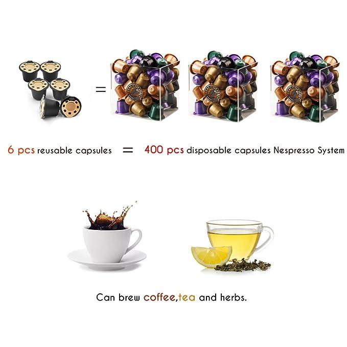 brbhom rellenable cápsulas MONODOSIS 24 K oro reutilizable filtros de café Nespresso Cápsula Set de 6, compatible con Nespresso: Amazon.es: Hogar