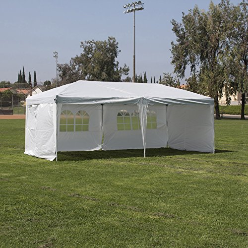 [Belleze Easy Pop Up Canopy Party Tent, 10 x 20-Feet, Silver/White with 4 Removable Sidewalls w/ Roller Bag] (10x20 Silver Canopy)