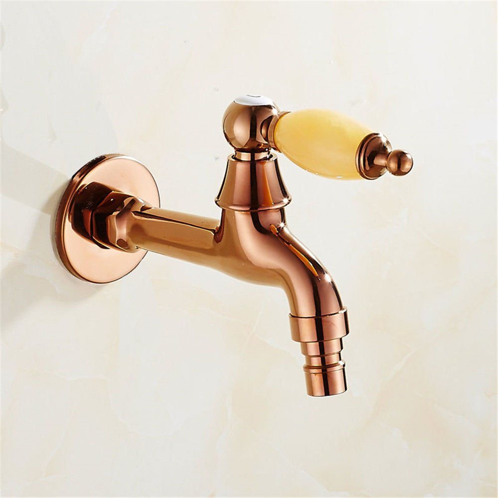 H Lpophy Bathroom Sink Mixer Taps Faucet Bath Waterfall Cold and Hot Water Tap for Washroom Bathroom and Kitchen Antique Jade Copper Body Single Cold Into The Wall gold C