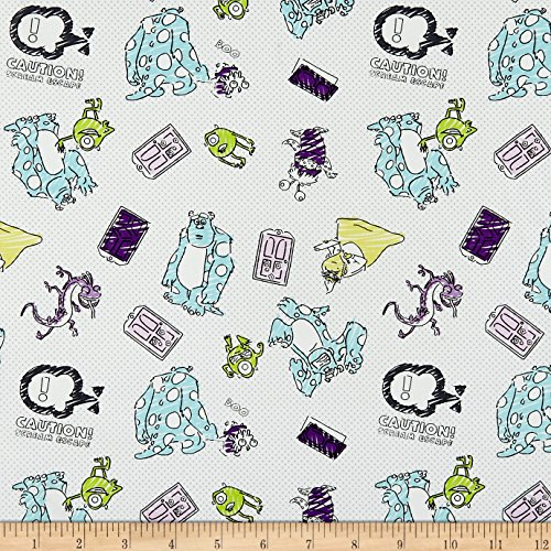 Eugene Textiles Disney Pixar Mini Color-Me Sketchy Monsters Multi Fabric by The Yard,