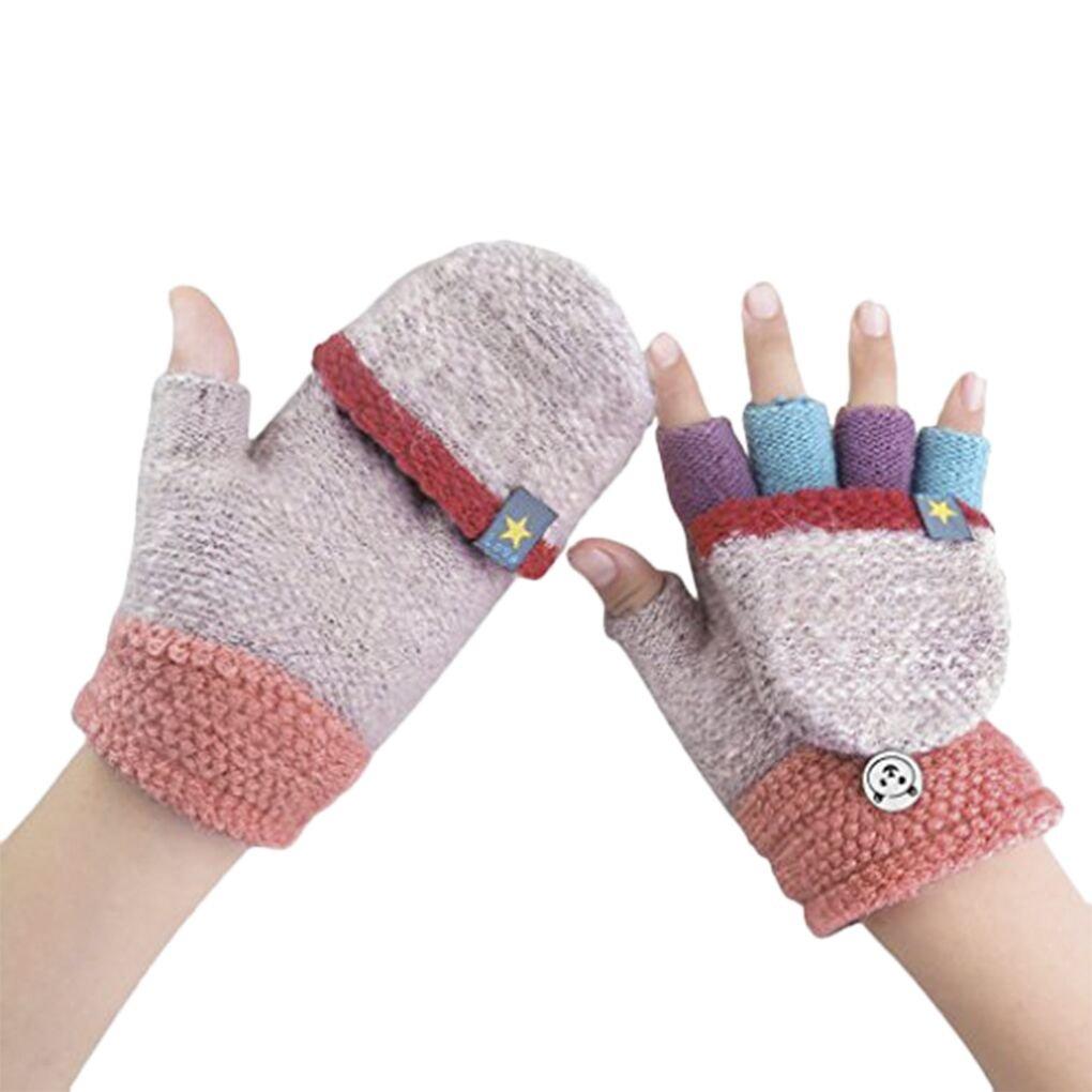 Kids Toddler Thermal Flip Top Gloves Mittens with Mitten CoverBaby Boys Girls Winter Warm Knitted Wool Stretch Half Finger Gloves Teen Children Thicken Warm Cozy Fingerless Hand Wear Gloves (pink)