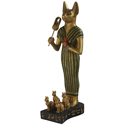 Culture Spot Large Feline Bastet Statue, Egyptian Goddess, 12.5 Inches