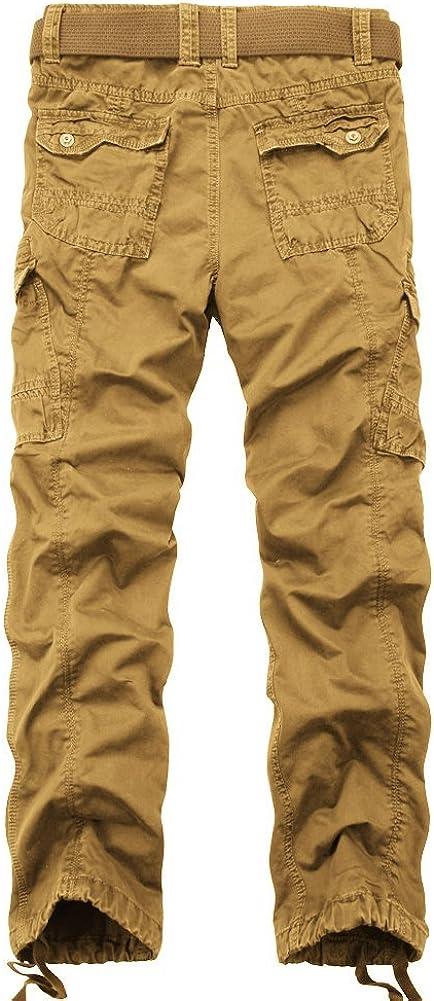 OCHENTA Homme Pantalon de Loisir Travail Casual Cargo en Coton Multi Poches Type Loose