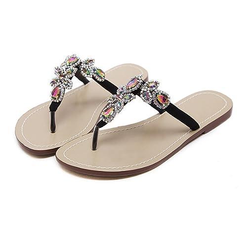Pinke Mujer Tendencia Sandalias Zapatos - Señoras Zapatillas Chancletas Flip Flop Zapatos, Verano Plano Rhinestones Zapatillas Negro 47: Amazon.es: Zapatos ...