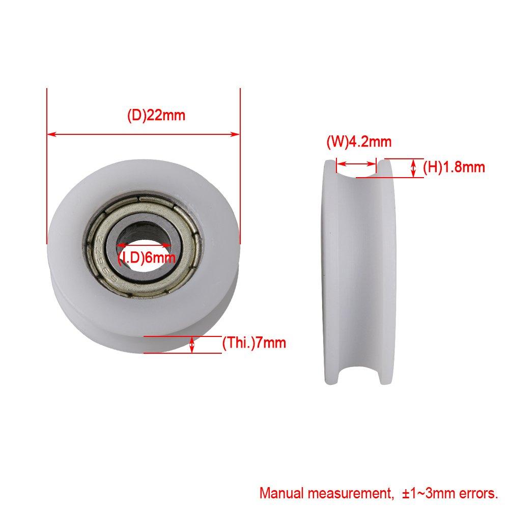 BQLZR 22x6x7mm 696ZZ U-tipo Groove Cuscinetto a sfere Guida Puleggia Ruote Rullo portante 67KG per Porta Finestra Cabinet Stampante Confezione da 4