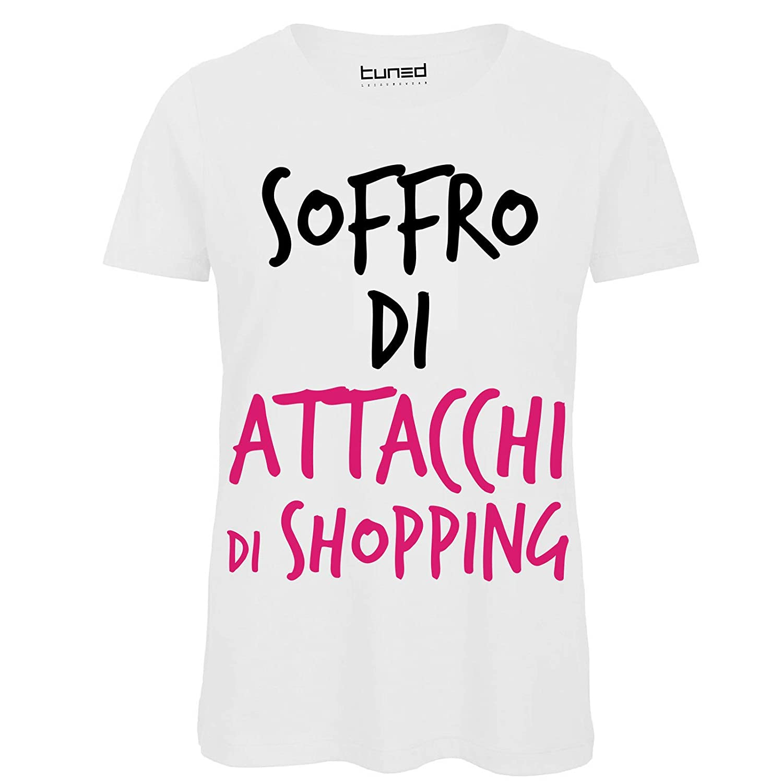 T-Shirt Divertente Donna Maglietta con Stampa Simpatica Attacchi di Shopping Tuned CHEMAGLIETTE
