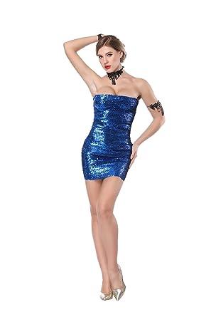 Sequins Elastic Strapless Wrap Chest Off Shoulder Bodycon Mini Dress Blue 9e576db036bc