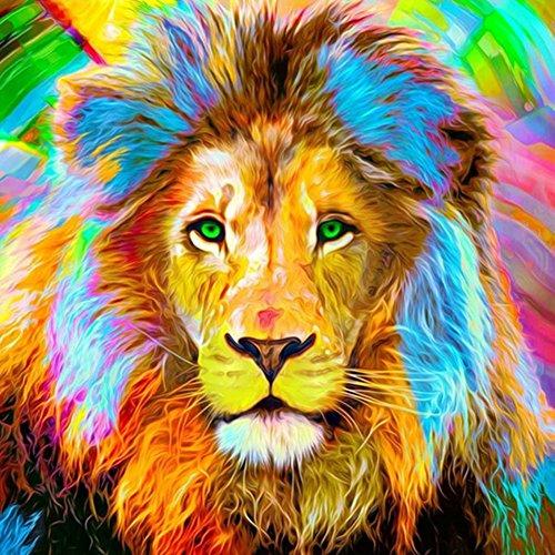 Fairylove 30×30 Diamond Painting Full Lion Paint with Diamonds Dotz Kit Cross Stitch Kits Embroidery Art Crafts,Color Lion