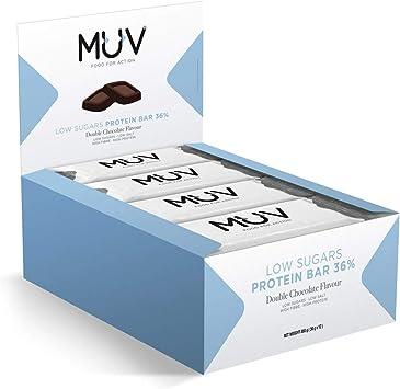 Muv Food For Action - Barras de proteína bajas en azúcar sabor doble chocolate, 12 unidades de 30 g