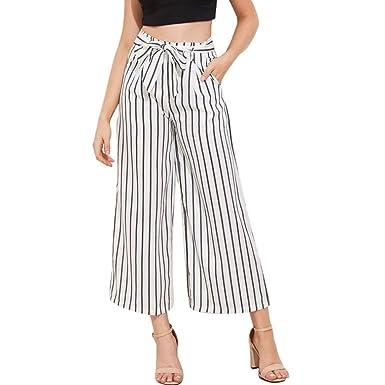 e150cc2e1527 Amazon.com: Bravetoshop Womens Long Wide Leg Pants Striped Drawstring  Palazzo Pants Loose: Clothing