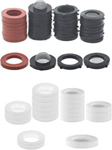 "Jwodo 20Packs 1/2"" Shower Hose Washers with Screen Filter and 40Packs 3/4"" Garden Hose Washers Combo, Food Grade Silicone Gaskets for Faucet, Rubber Seals O-Rings with Filters for Garden Hose Fittings"