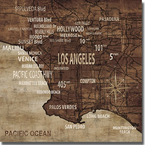 Map of Los Angeles by Luke Wilson Premium Stretched Canvas (Ready to - Hollywood Map Blvd Of