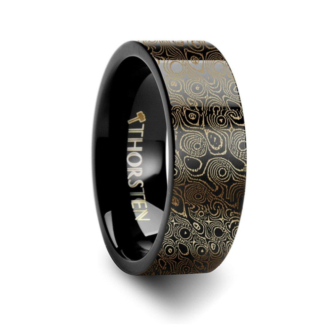 Thorsten Circular Damascus Steel Design Print Pattern Ring Flat Black Tungsten Ring 6mm Wide Wedding Band from Roy Rose Jewelry
