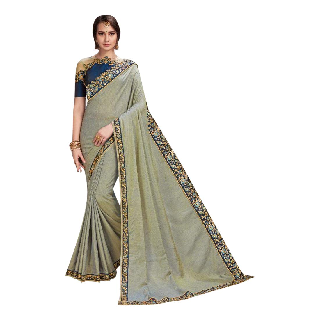 Grey Designer Rich Embroidery Cherry Silk Sari with Cutwork Blouse Indian Saree for Women Party wear 7721