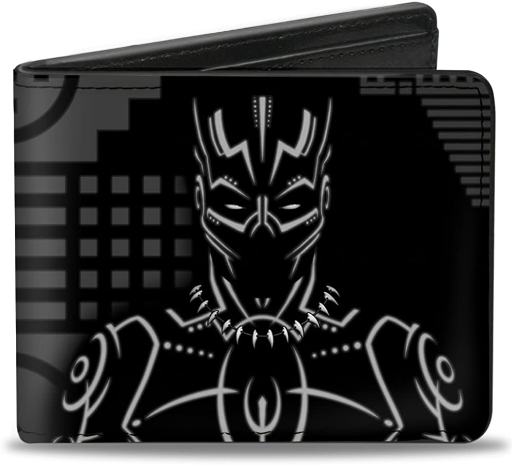 buckle down pu bifold wallet black panther tribal silhouette pose icon black grays at amazon men s clothing store buckle down pu bifold wallet black panther tribal silhouette pose icon black grays