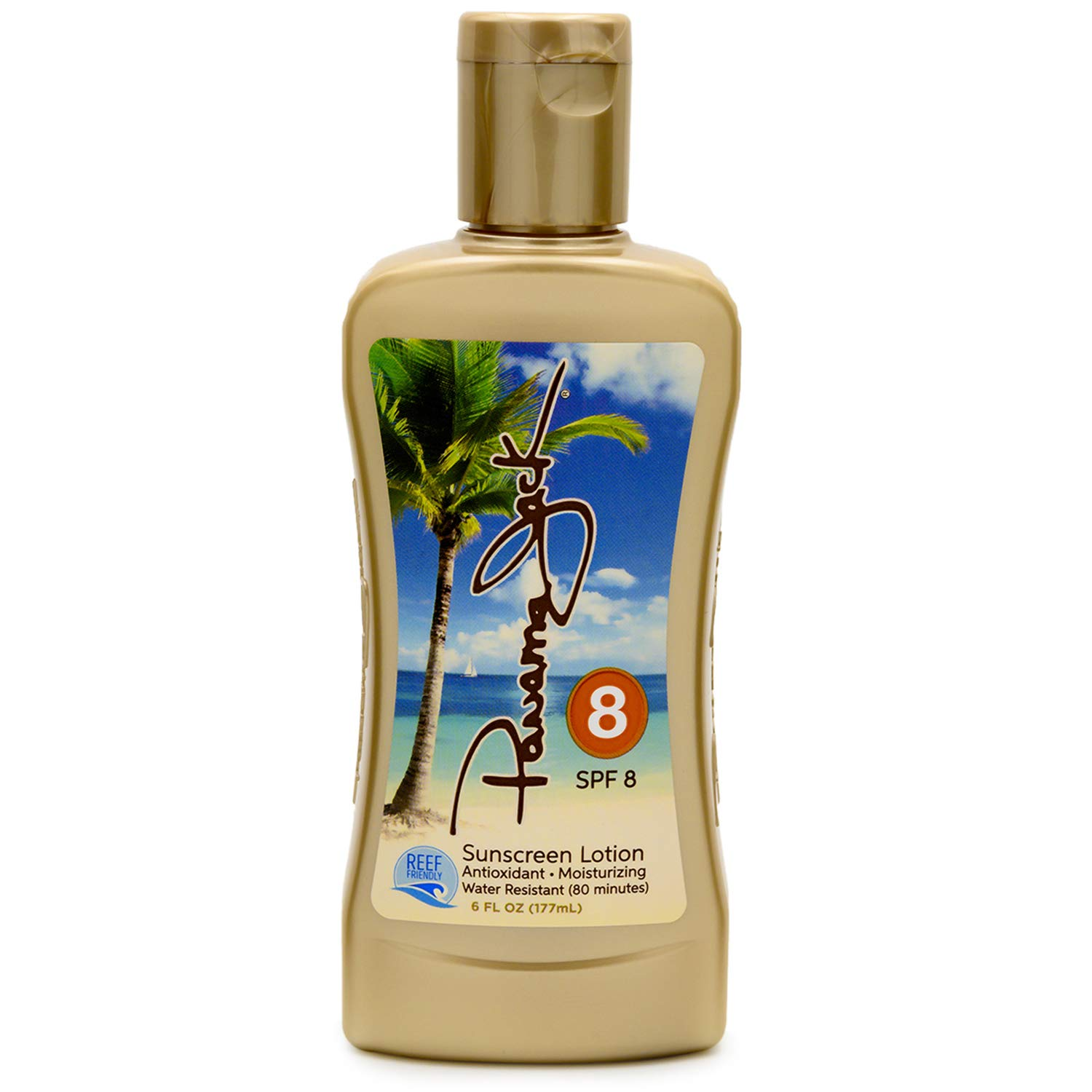 Panama Jack Sunscreen Tanning Lotion - SPF 8, Reef-Friendly, PABA, Paraben, Gluten & Cruelty Free, Antioxidant Moisturizing Formula, Water Resistant (80 Minutes), 6 FL OZ (Pack of 1)