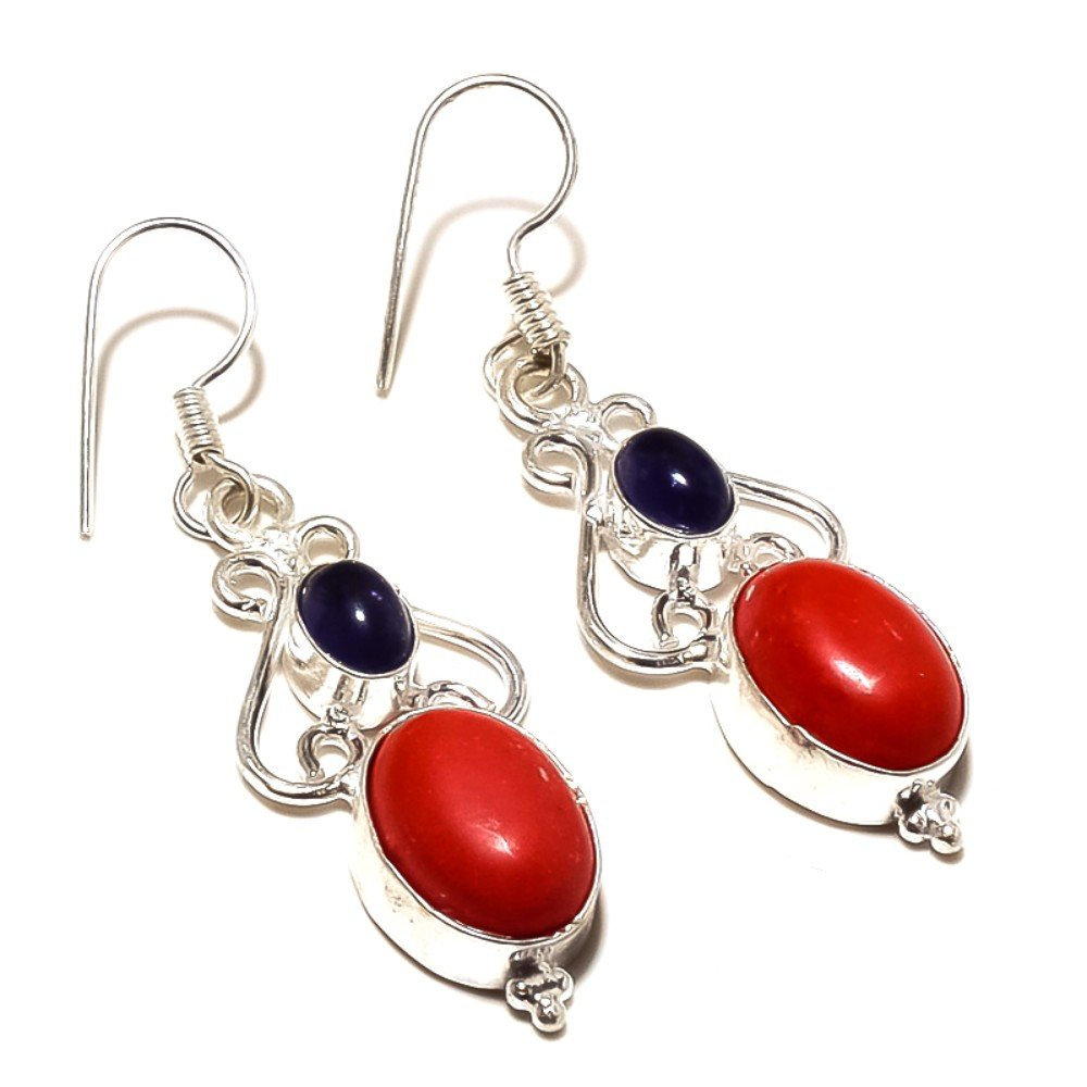 Red Coral Tanzanite Quartz Sterling Silver Overlay Earring 1.75 Handmade Jewelry Fantasy
