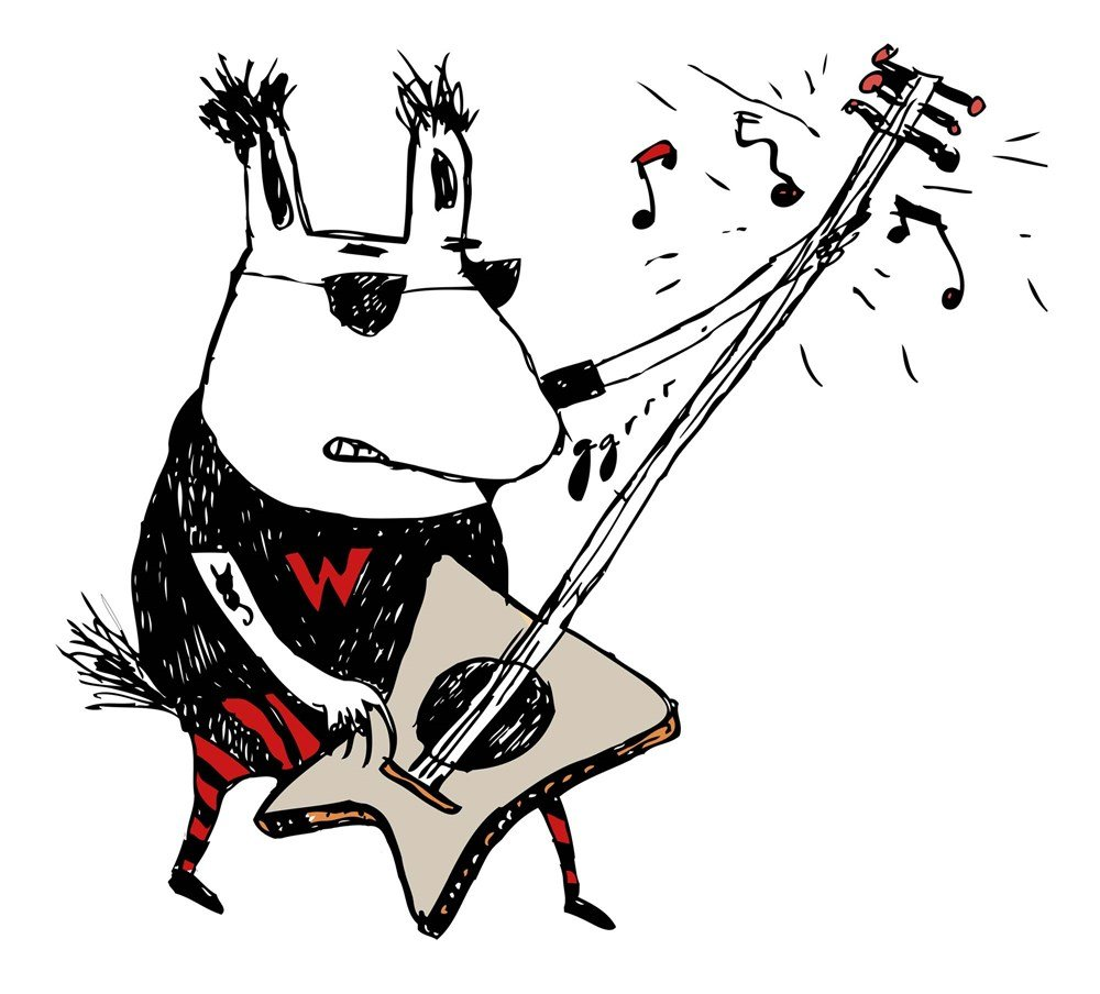 Wild Guitar Wolf by Carla Martell Art Print, 20 x 18 inches by Great Art Now