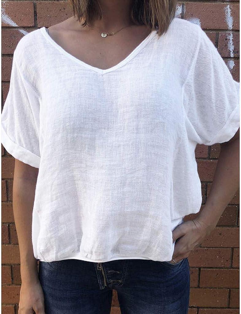 DressLksnf Camiseta de Mujer Verano de Color Sólido Mangas ...