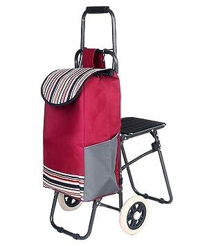 El Carrito con asiento con ruedas carrito de la compra supermercado - Carro de compra plegable con ruedas fácil almacenamiento plegable silla carrito de la ...